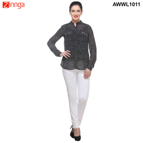 Black and White Color Georgette Top  - AWWL1011-FRONT