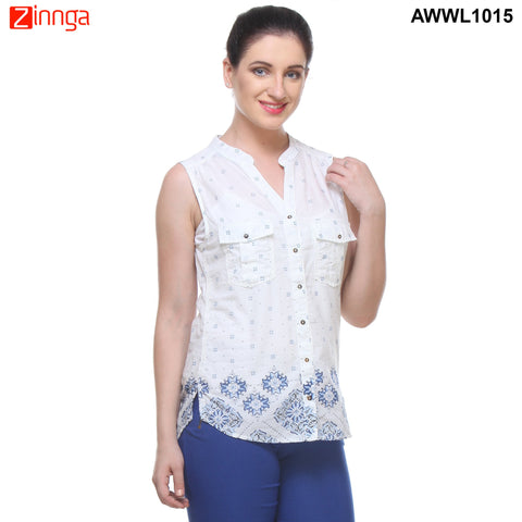 White color Georgette Top - AWWL1015-RIGHT