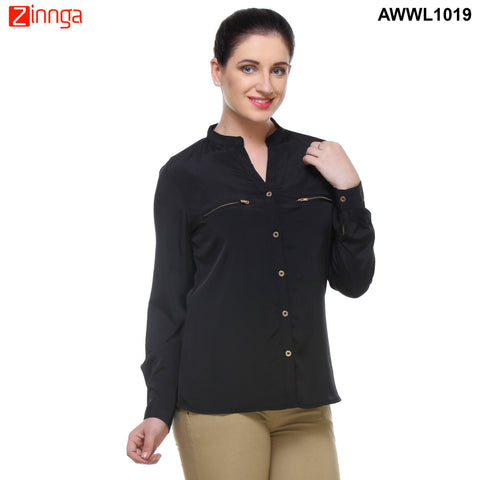 Black Color Georgette Top - AWWL1019-RIGHT