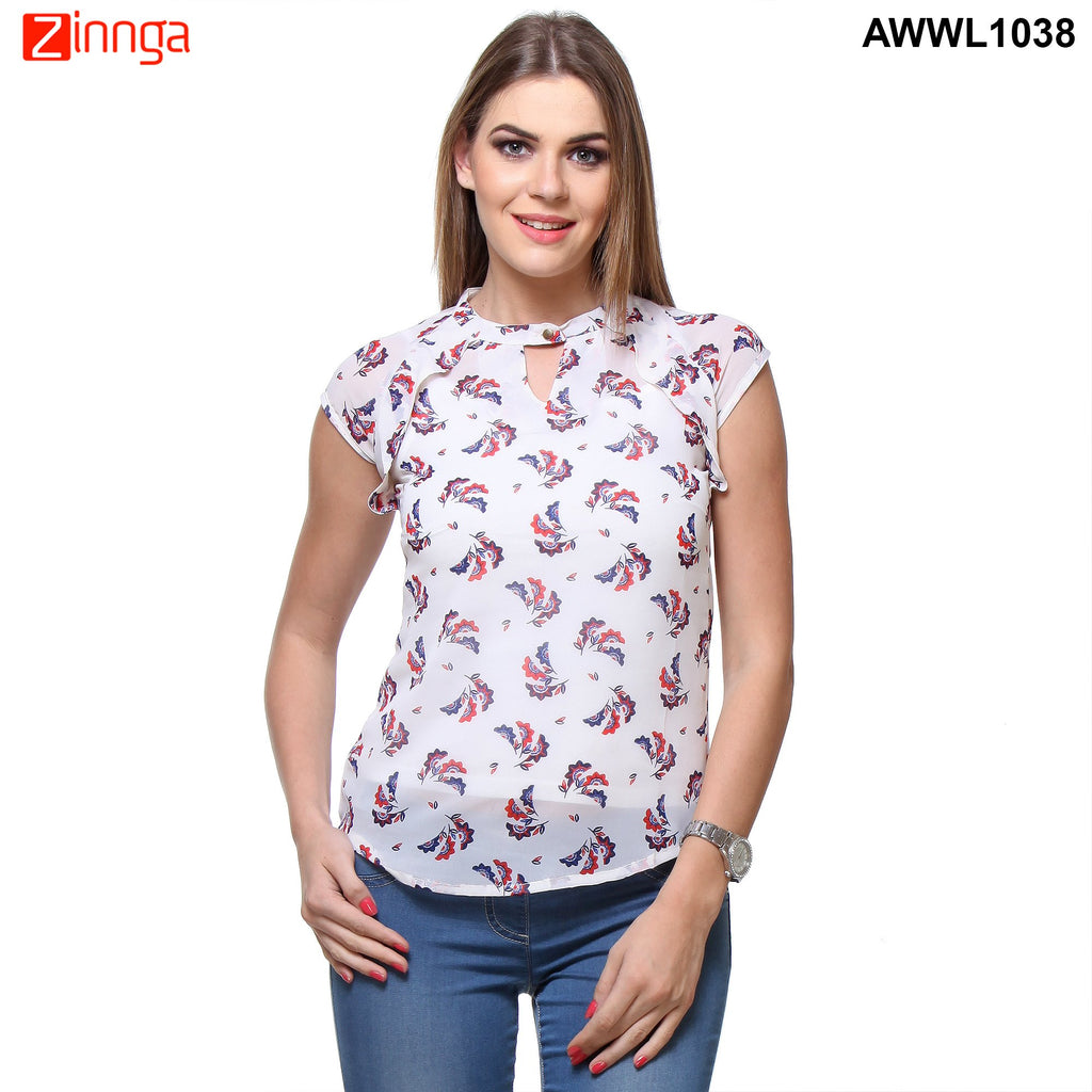 White Color Polyster Top