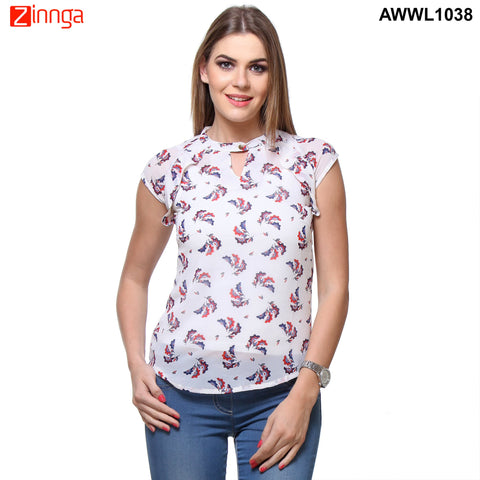 White Color Polyster Top  - AWWL1038-FRONT