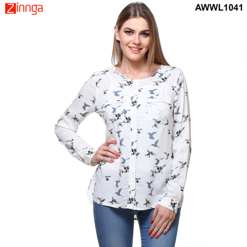 White Color Rayon Top - AWWL1041-FRONT