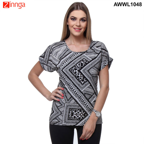 Black and White Color Rayon Top - AWWL1048-FRONT