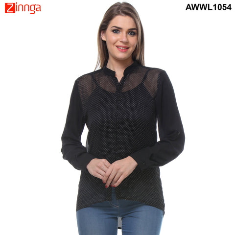 Black Color Cotton Women's Top - AWWL1054-FRONT