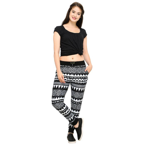 Black Color Cotton And Polyster Women's Jogger Pants - AY-350WmnBlkBandhani