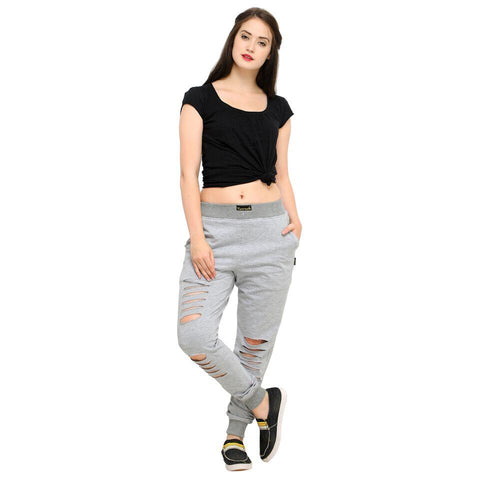 Grey Color Cotton Women's Jogger Pants - AY-353WmnGreyDistressed
