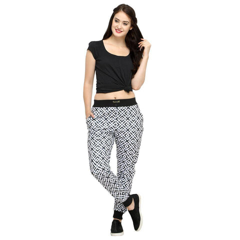 Multi Color Cotton And Polyster Women's Jogger Pants - AY-354WmnConnectedSquare