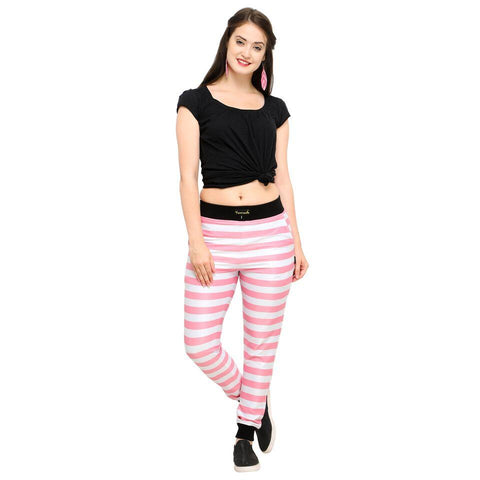 Pink Color Cotton And Polyster Women's Jogger Pants - AY-355PinkStriped
