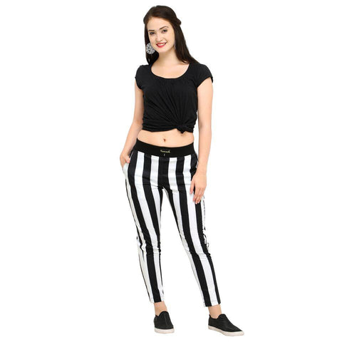 Multi Color Cotton And Polyster Women's Jogger Pants - AY-356BlkWhiteRawStriped
