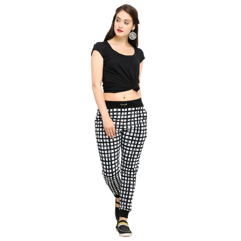Multi Color Cotton And Polyster Women's Jogger Pants - AY-357WmnThickChecks