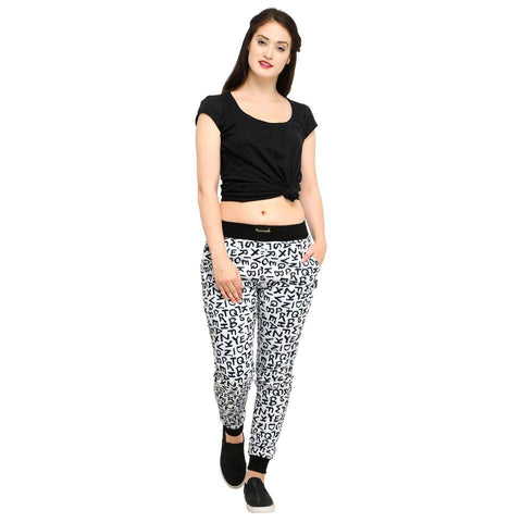Multi Color Cotton And Polyster Women's Jogger Pants - AY-359WmnWhiteABCD