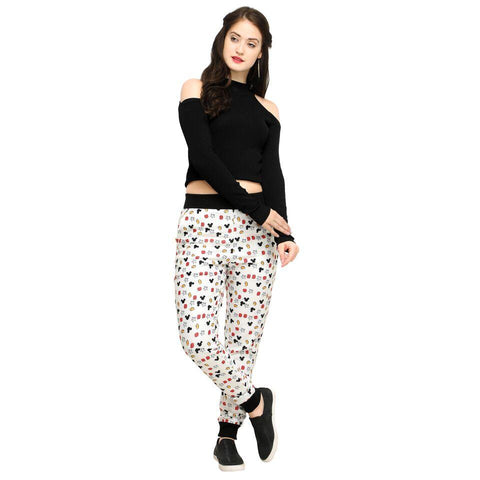 Multi Color Cotton And Polyster Women's Jogger Pants - AY-361WmnMickeyACC