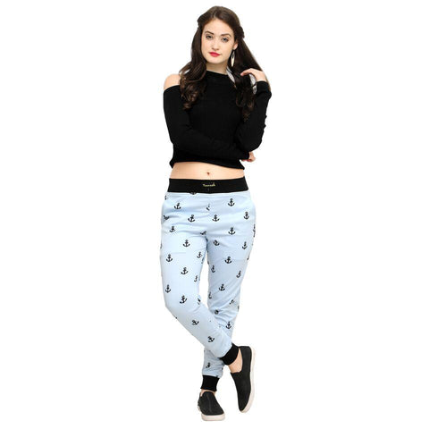 Multi Color Cotton And Polyster Women's Jogger Pants - AY-362WmnSkyAnkle