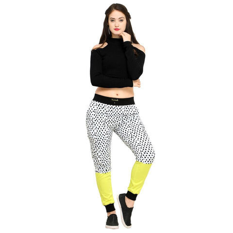 Multi Color Cotton And Polyster Women's Jogger Pants - AY-365WmnDotYellowHalf