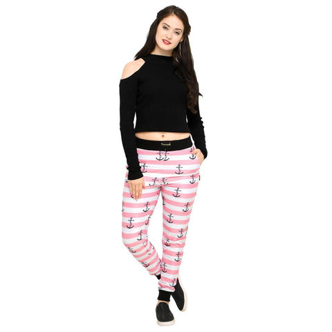Pink Color Cotton And Polyster Women's Jogger Pants - AY-366PinkStripedAnchor