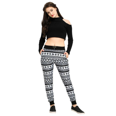 Multi Color Cotton And Polyster Women's Jogger Pants - AY-368WmnBlkGeometric
