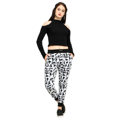 Multi Color Cotton And Polyster Women's Jogger Pants - AY-369WmnMeowCat