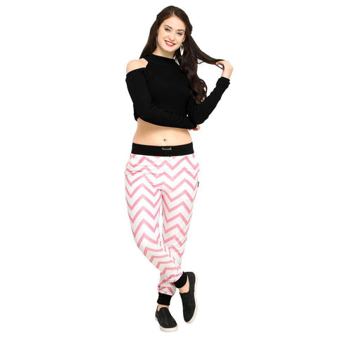 Pink Color Cotton And Polyster Women's Jogger Pants - AY-370WmnPinkUpsideStriped