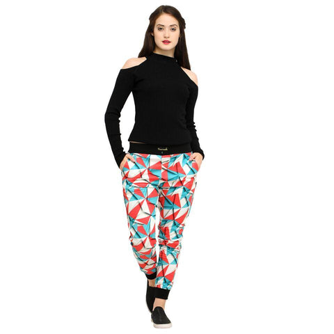 Multi Color Cotton And Polyster Women's Jogger Pants - AY-371WmnColorBlockedTriangle