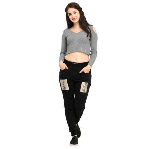 Black Color Cotton Women's Jogger Pants - AY-388WmnGiraffeLionPatch