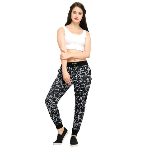 Multi Color Cotton And Polyster Women's Jogger Pants - AY-390WmnBlkABCD