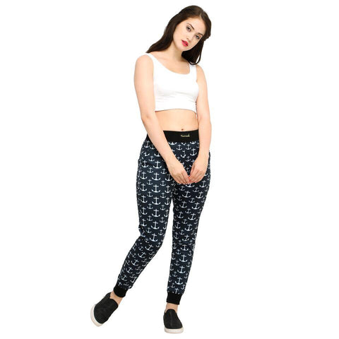 Black Color Cotton And Polyster Women's Jogger Pants - AY-391WmnBlkAnchor