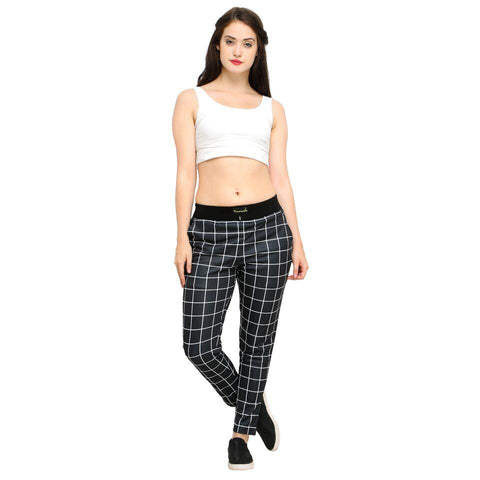 Black Color Cotton And Polyster Women's Jogger Pants - AY-395WmnBlackChecksNorib