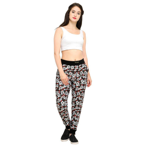 Multi Color Cotton And Polyster Women's Jogger Pants - AY-396WmnredMickeyFloral