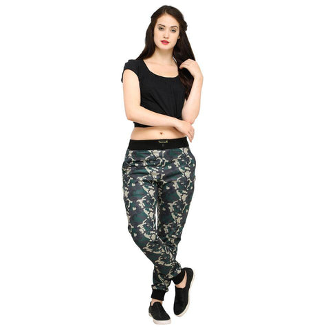 Multi Color Cotton And Polyster Women's Jogger Pants - AY-401WmnGreenCamo