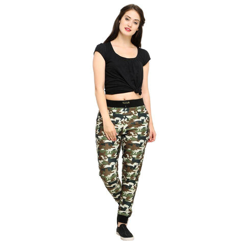 Multi Color Cotton And Polyster Women's Jogger Pants - AY-403WmnCatCamo
