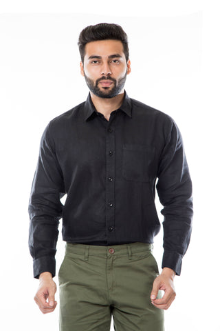 Black Color Linen Men's Shirt - AYMFSBK005