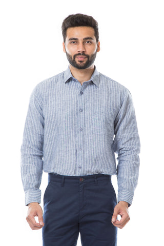 Blue Color Linen Men's Shirt - AYMFSCBS010
