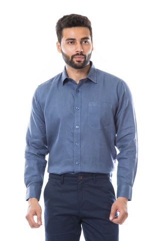 Indigo Color Linen Men's Shirt - AYMFSIB004