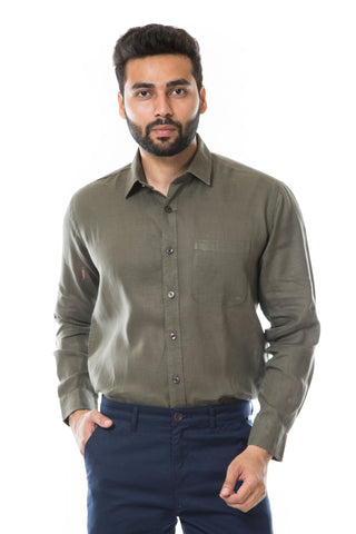 Khakhi Color Linen Men's Shirt - AYMFSKK006