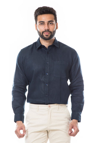 Navy Blue Color Linen Men's Shirt - AYMFSNB007