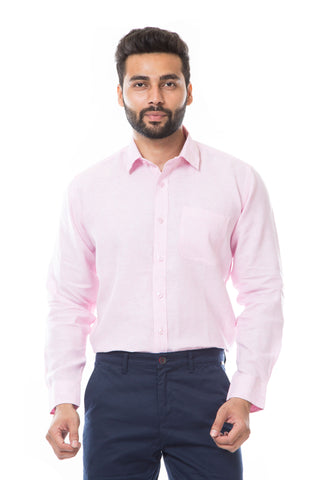 Pink Color Linen Men's Shirt - AYMFSPK001