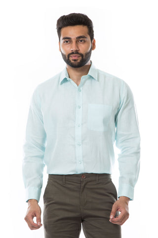 Blue Color Linen Men's Shirt - AYMFSSB003