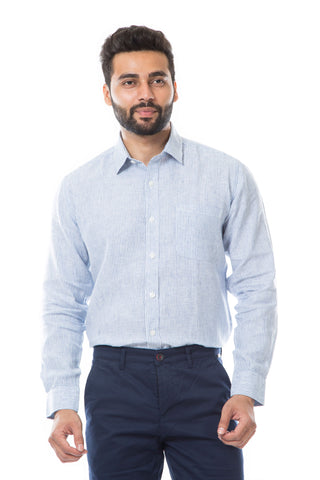 White Color Linen Men's Shirt - AYMFSWBS008