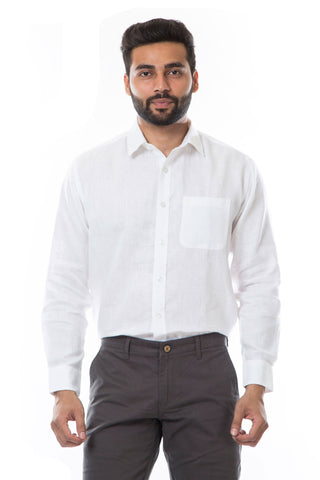 White Color Linen Men's Shirt - AYMFSWH002