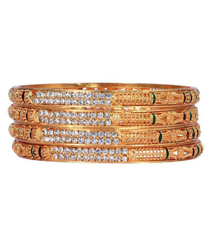 Golden Color Alloy Bangles - Aangi-ban1