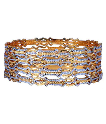 Golden Color Alloy Bangles - Aangi-ban7