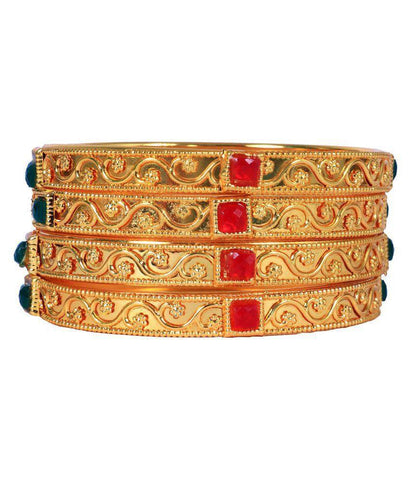 Golden Color Alloy Bangles - Aangi-ban8