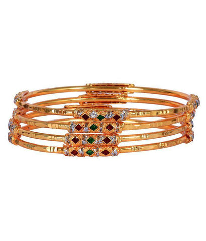 Golden Color Alloy Bangles - Aangi-ban9
