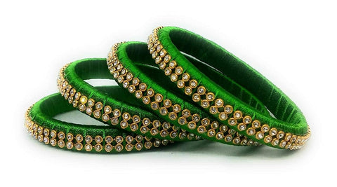 Green Color Silk Thread Bangles - Aarohi-101