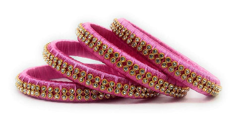 Pink Color Silk Thread Bangles - Aarohi-103