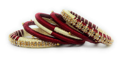 Maroon and Beige Color Silk Thread Bangles - Aarohi-104