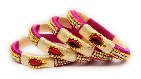 Pink and Beige Color Silk Thread Bangles - Aarohi-105