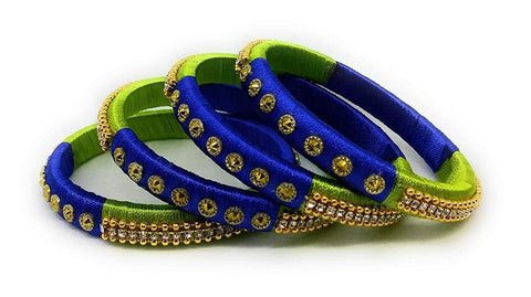 Green and Blue Color Silk Thread Bangles - Aarohi-106
