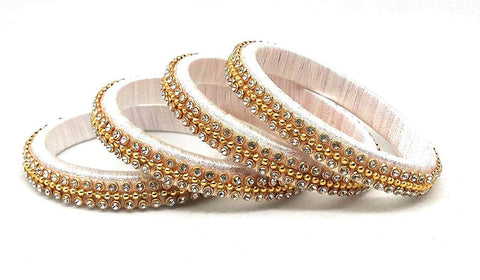 Light Pink Color Silk Thread Bangles - Aarohi-107