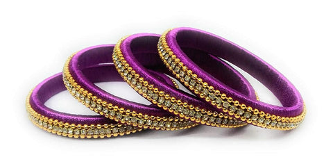 Pink Color Silk Thread Bangles - Aarohi-108